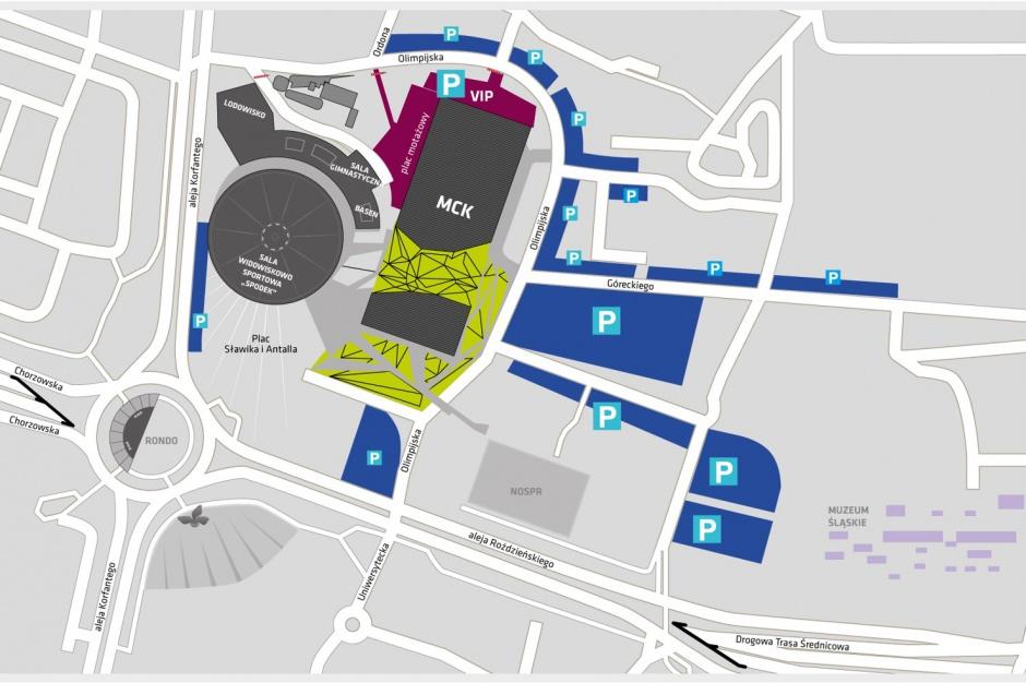 Miejsca parkingowe przy MCK i Spodku