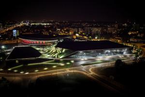 Międzynarodowe Centrum Kongresowe i Spodek nocą